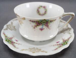 Carl-Tielsch-Pink-Roses-Blue-Bows-amp-Gold-Tea-Cup-amp-Saucer-Circa-1891-1900