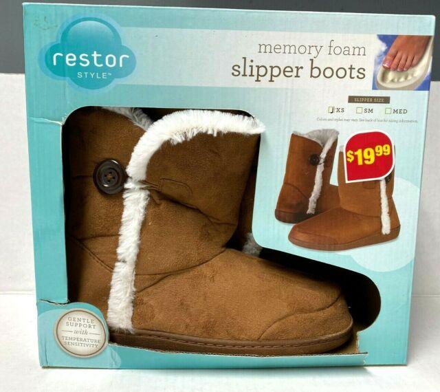 Restor Memory Foam SLIPPER BOOTS Size