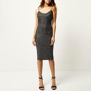 74ee7523 Image is loading River-Island-Black-Silver-Sparkle-Glitter-Midi-Party-