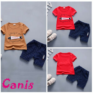 4247cc6817a8 US Toddler Kid Baby Boy Fish Denim Outfit Tops T-shirt Pants Casual ...