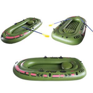 Gonflable-Bateau-2-Personnes-Caoutchouc-PVC-Vert-Kayak-avec-Air-Pompe-Avirons