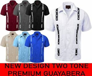 MEN-039-S-GUAYABERA-TWO-TONE-CUBAN-BUTTON-UP-SHIRT-S-S-CONTRAST-EMBROIDERY-5-SIZES