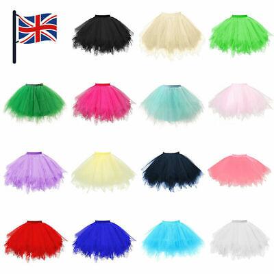 Girls Kids Women Tutu Skirt Dance Petticoat Party Dress Ballet Fluffy Layer UK