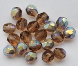 Y9-05 20 Kaden de vidrio esmerilado perlas 6 mm pardo gris con ab