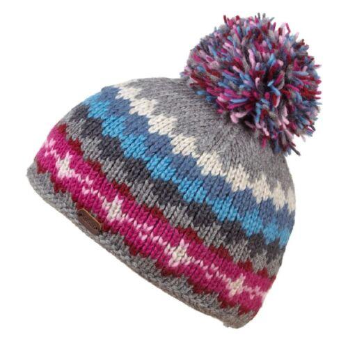 Kusan 100/% Wool Multi-Colour Bobble Hat Choice of Colours PK1605//PK1822