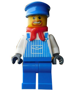 Lego-Mechaniker-Latzhose-blaue-Beine-Muetze-in-blau-Minifigur-trn131-Train-Neu