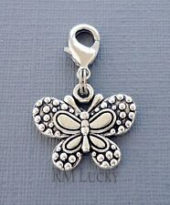 Butterfly Clip On Charm Lobster Clasp Fits Link Chain, locket necklace S191