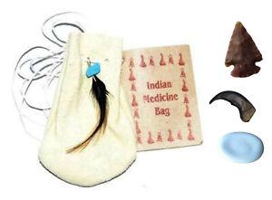 3-034-Medicine-Poke-Bag-White-Native-American-FREE-Arrowhead-Worry-Stone-Bear-Claw