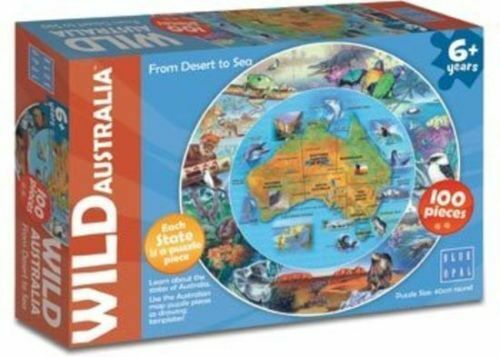 Australia Map Desert.Details About Blue Opal Wild Australia From Desert To Sea Round Map Jigsaw Puzzle 100 Piece