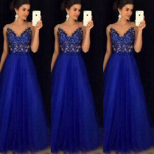Women Formal Wedding Bridesmaid Long Evening Party Ball Prom Gown ...
