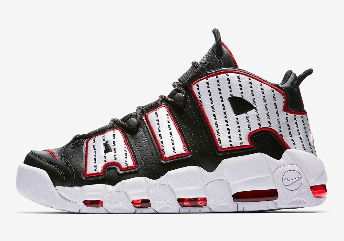 Nike Air More Uptempo 96 Pinstripe Black White Red Size 8.5. AV7947-001 Jordan