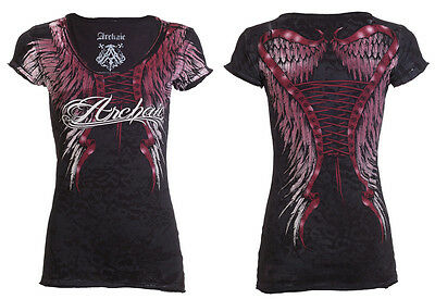 ARCHAIC by AFFLICTION Womens T-Shirt SIMPLE SPIRIT Wings BLACK Biker Sinful $40