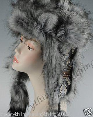 Wool Faux Fox Fur Winter Mongolian Hat Ushanka Trapper Russian Style Hat Grey