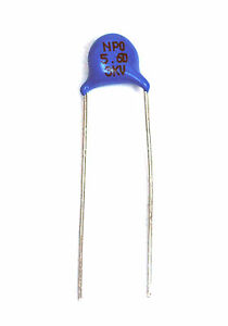 250pc Disc Ceramic Capacitor 5.6pF 3KV ±0.5pF NPO φ6.5x3.5mm Pitch=7.5mm Taiwan
