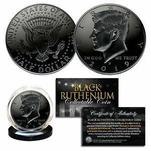 2019-BLACK-RUTHENIUM-JFK-Kennedy-Half-Dollar-U-S-Coin-w-COA-Philadelphia-Mint