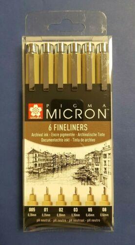 Pigma Micron Fineliner 6er Set 6 verschiedene Stärken Pigmentliner NEU /& OVP !