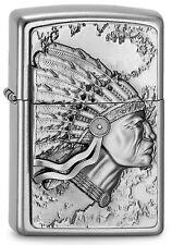 ZIPPO Feuerzeug INDIAN HEAD mit Emblem Street Chrome Indianer Häuptling NEU OVP