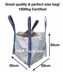 ✅ MINI Builders Bag 50x50x50cm Garden Waste Rubble Jumbo Tidy Up Bag Sacks Tonne