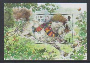 Jersey-2002-Year-Of-The-Horse-Blatt-MNH-Sg-MS1030