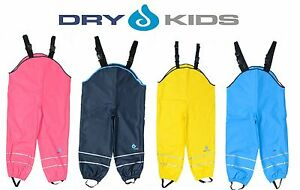 Dry-Kids-Childrens-Waterproof-Trousers-Dungarees-Unlined-Boys-amp-Girls-2-12yrs