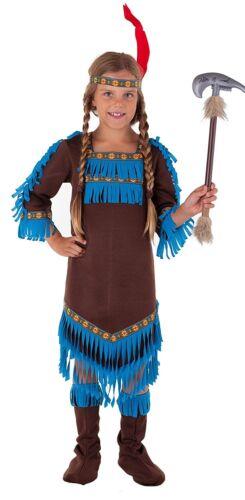 Indianer Königin komplettes Indianerin Kostüm Mädchen braun-blau 27782