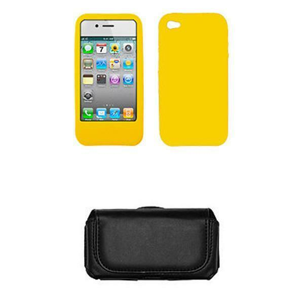 AT&T Apple Iphone 4 Case Cover Silicone Yellow Cell Phone Protector + Leather Ca