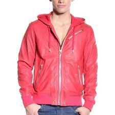 DIESEL L-HASSO Red Hooded Leather Bomber Jacket Men's M (Fit Small)
