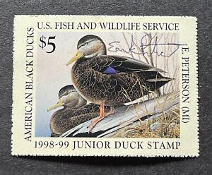 WTDstamps - #JDS6 1998 - US Junior Duck Stamp - Mint OG NH **ARTIST SIGNED** --