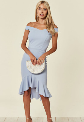 Fuchsia Pink Bardot Off Shoulder Deep Hem Party Occasions Dress Size 8-18