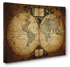 Vintage World Map Art.Old 1752 Vintage World Map Picture Canvas Print Wall Art A1 A2 Ebay