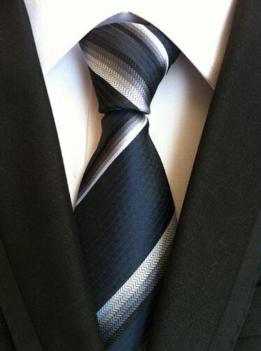 Fashion Classique Homme Bleu Marine Col liens Fête De Mariage Cravate en soie Cadeau