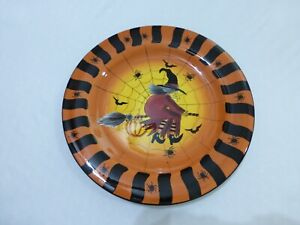 vintage-Halloween-Porcelain-Serving-Platter-Witch-on-a-broom-With-Spiders-web