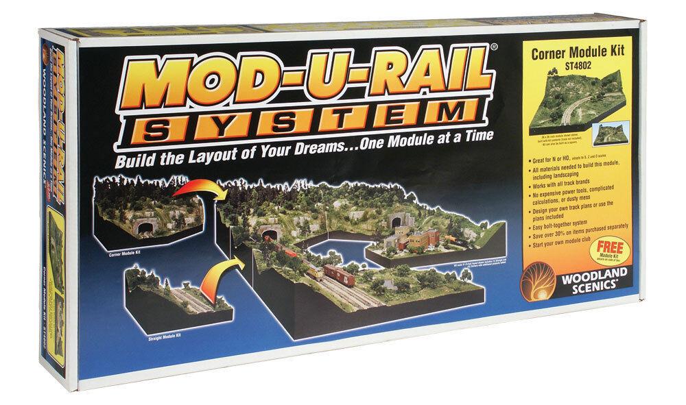 Woodland Scenics ST4802, HO or N Scale, 36  x 36  Mod-U-Rail Corner Module Kit