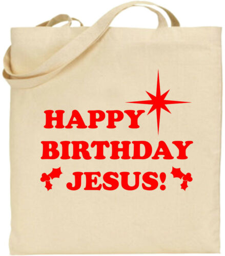 Details about  /Happy Birthday Jesus Large Cotton Tote Shopping Xmas Bag Secret Christmas Gift