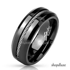Men-039-s-8mm-Stainless-Steel-Black-IP-Wire-Rope-Inlay-Ring-Band-Size-9-13