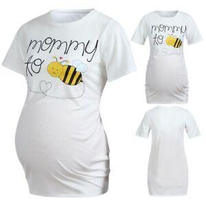 Women-Maternity-Short-Sleeve-Cute-Cartoon-Honeybee-Tops-Tee-Pregnancy-Clothes