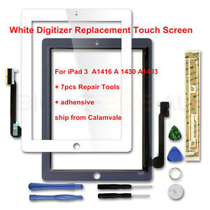 For iPad 3 Touch Screen Glass Lens Digitizer Replacement White + Tools