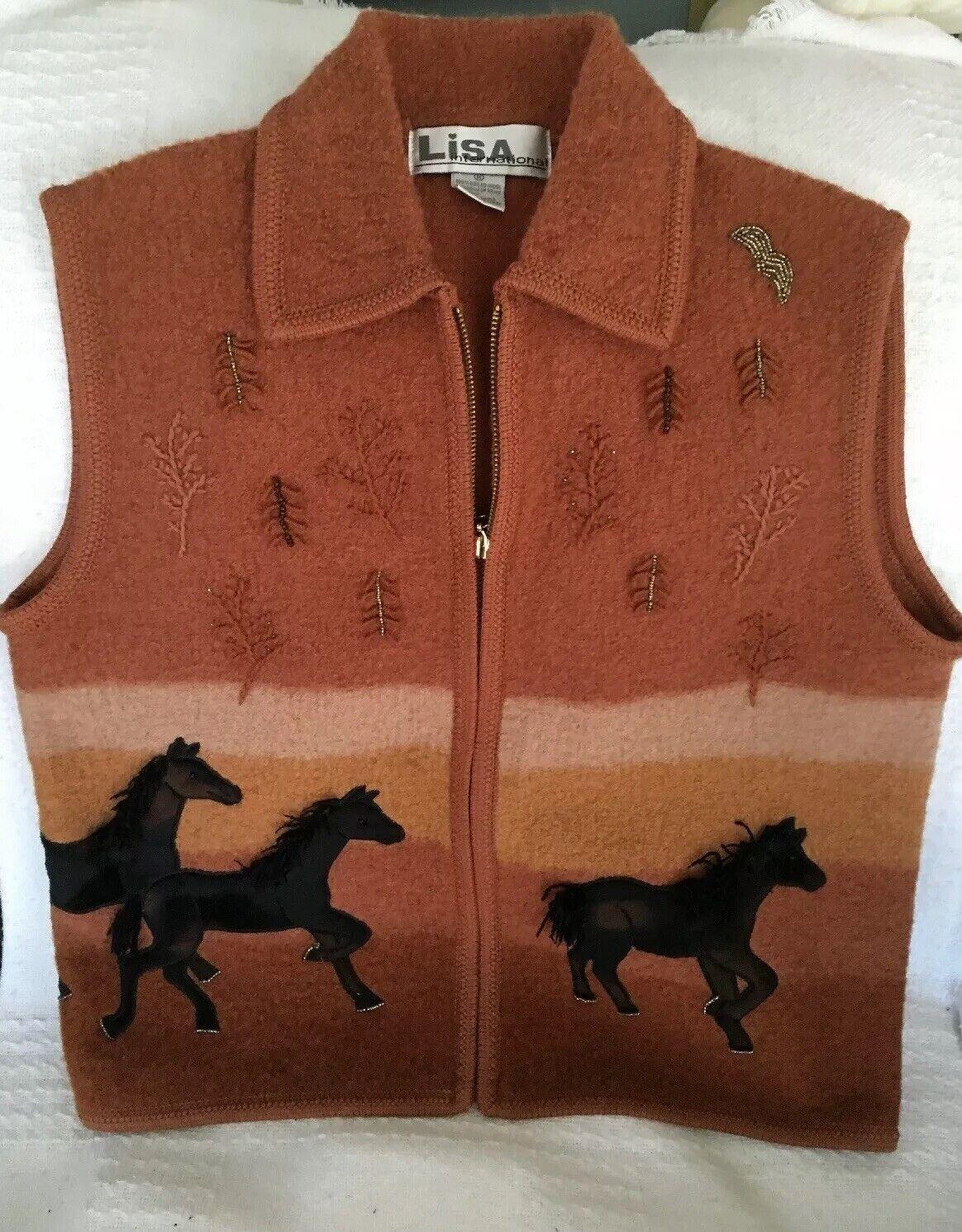 Lisa International International International Medium Rust Boiled Wool Horse Vest 8eaa73