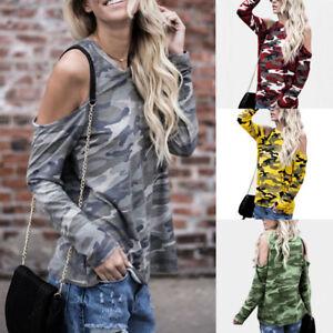 90061493420342 Image is loading Women-Cold-Shoulder-Camouflage-Long-Sleeve-Blouse-Slim-