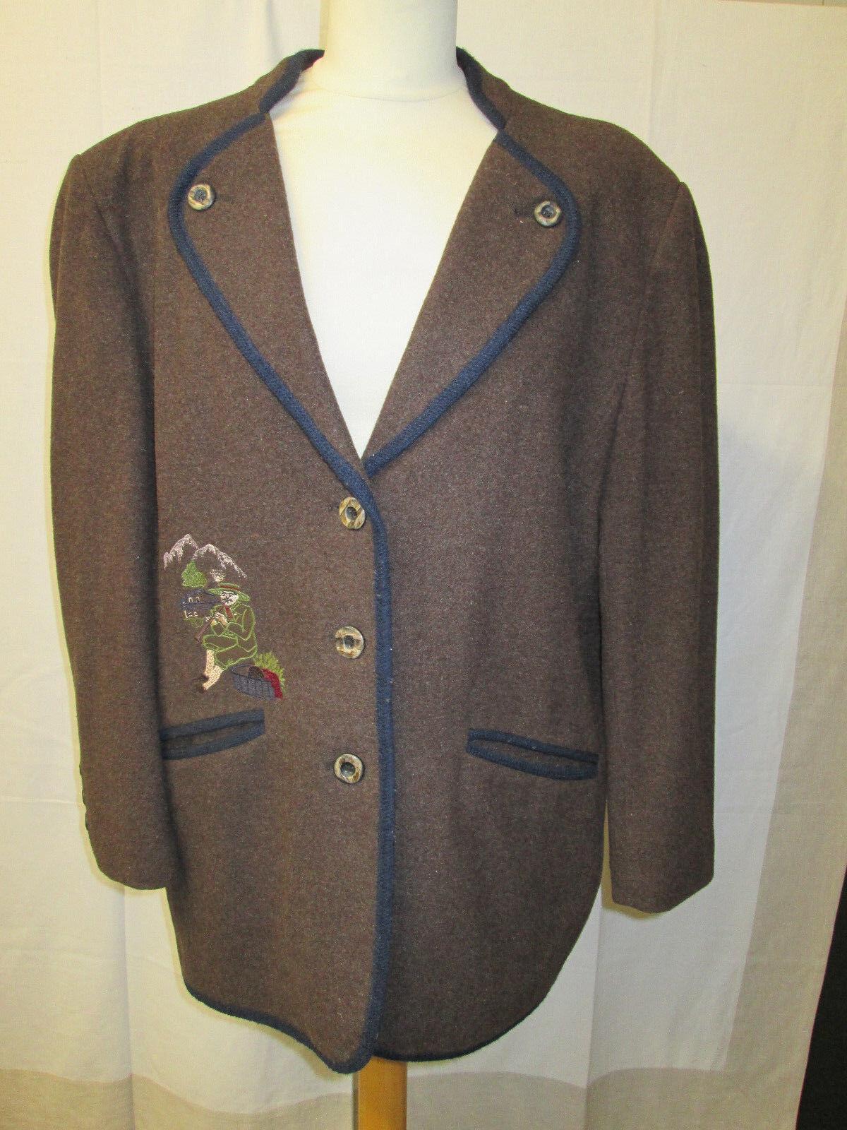 Damen Trachten Jacke Janker braun mit blauer Umrandung und Motiv Gr. 42