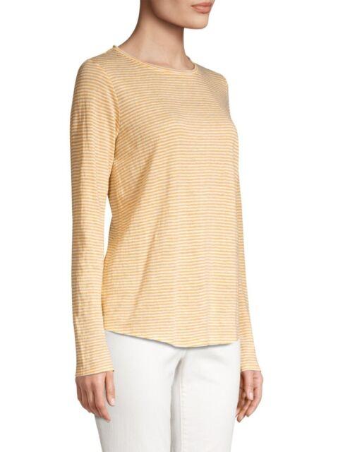 Eileen Fisher Marigold Organic Linen Jersey Stripe Round Neck Tee Top sz L NWT