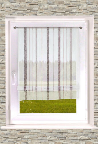 BxH gestreiftes Binderollo Larissa halbtransparentes Raffrollo 70//100 x 135 cm