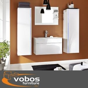 furniture sink unit set mirror wall cabinet cupboard white high gloss