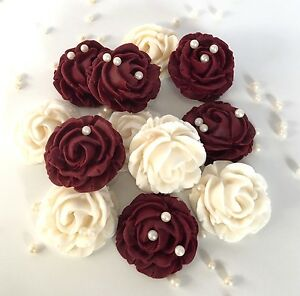 cream burgundy roses bouquet edible flowers wedding cake