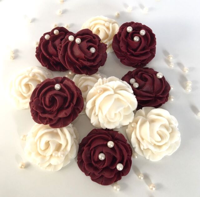 Cream Burgundy Roses Bouquet Edible Flowers Wedding Cake