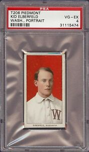 Super Rare 1909-11 T206 Kid Elberfeld Washington Portrait PSA 4 VG - EX