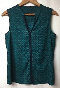 Banana-Republic-XS-Navy-Blue-Teal-V-neck-BEad-Lace-Trim-Blouse-Tank-Top-Woven