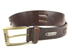 Men-039-s-COLUMBIA-Brown-Leather-Woven-Cut-out-belt-Distressed-Size-38
