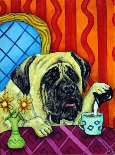 mastiff dog coffee 11x14  artist prints animals impressionism