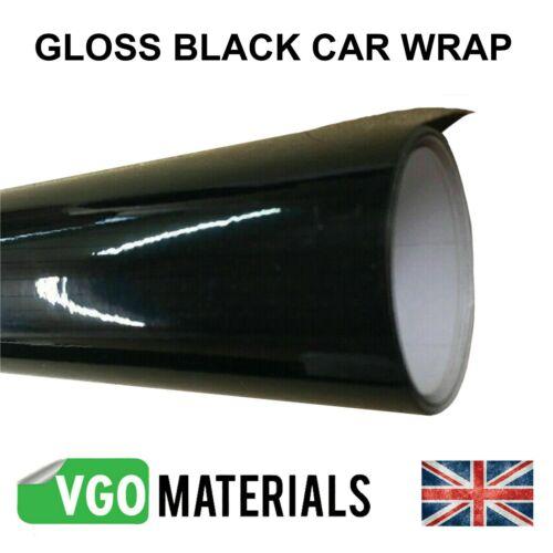 Car Wrap Vinyl Gloss Black Air//Bubble Free Many Sizes Car Motorbike Van